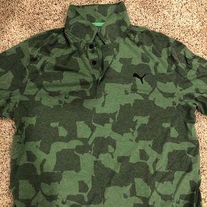 Men's XL Green Camo Puma Golf Polo Shirt
